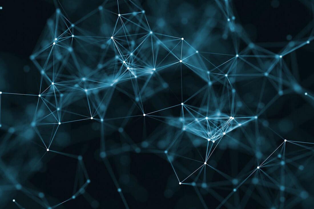 Rendering di una composizione geometrica a rete.